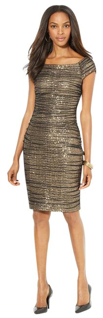 Item - Black and Silver Rowena Sequin Mesh Overlay Mid-length Cocktail Dress Size 12 (L)