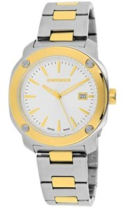 Wenger 01-1141-115 Edge Index Men's Two Tone Steel Bracelet With Silver Dial