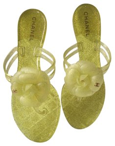 Chanel Glitter Slides Jelly Camellia Flats Yellow Sandals