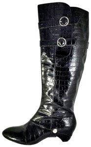Velvet Angels Tall Leather Croc black Boots