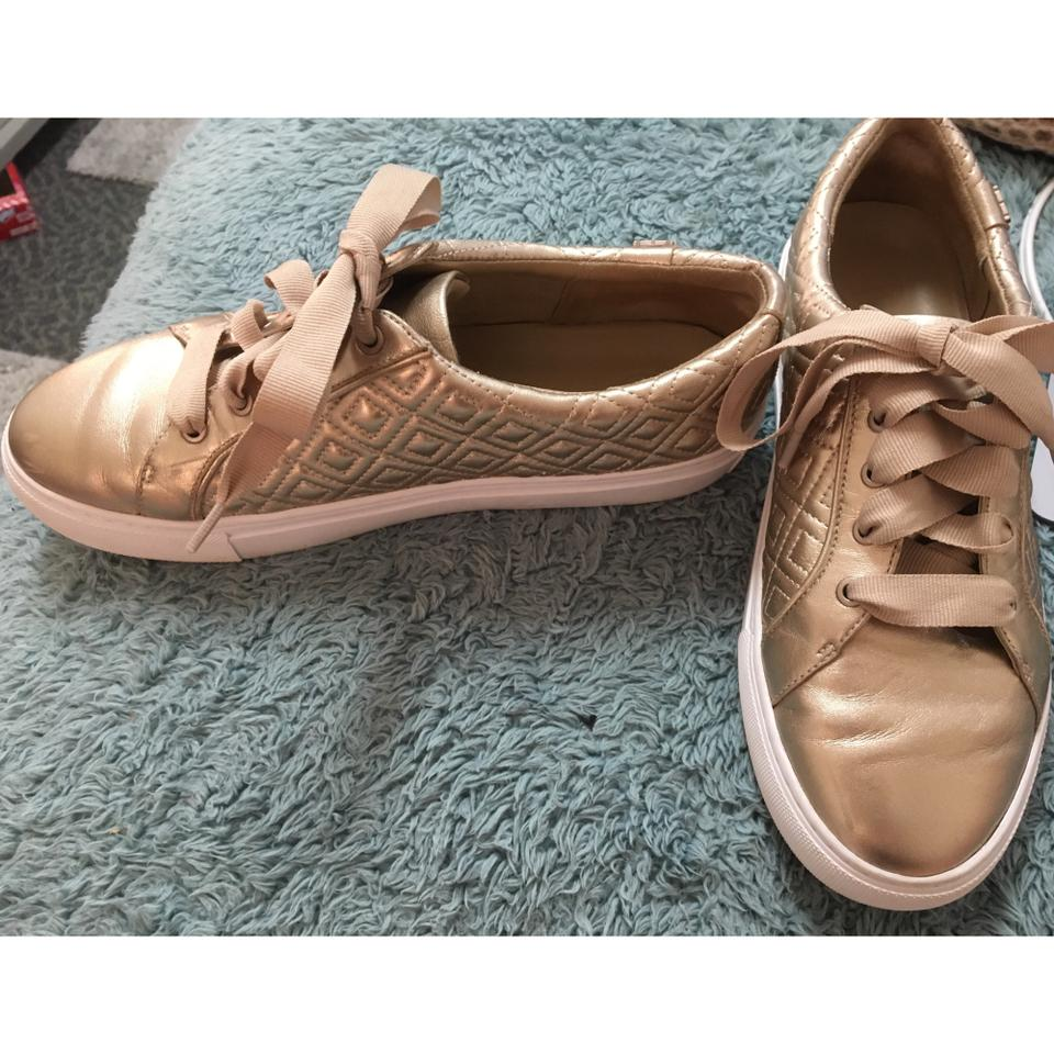 tory burch marion quilted metallic leather sneakers rose. Black Bedroom Furniture Sets. Home Design Ideas