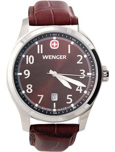 Wenger 01-0541-119 Terragraph Men Brown Leather Bracelet With Brown Dial