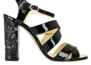 Chanel Flat Strap Ankle Strap Black Sandals