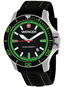 Wenger 01-0641-108 Sea Force Men Black Silicone Bracelet With Black Dial