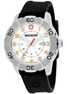 Wenger 01-0851-104 Roadster Men Black Silicone Bracelet With White Dial