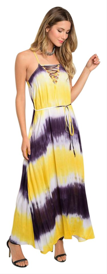 on feet at durable service special discount Yellow New Tye Dye Flowy Long Casual Maxi Dress Size 14 (L)