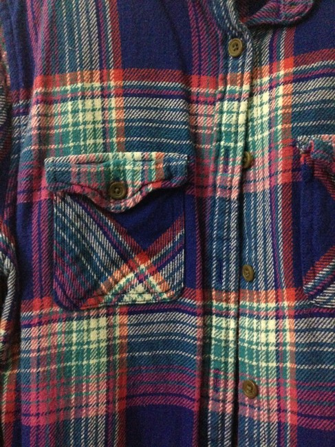 American Eagle Outfitters Flannel Button Up Blue Pink White Button Down Shirt Multicolored