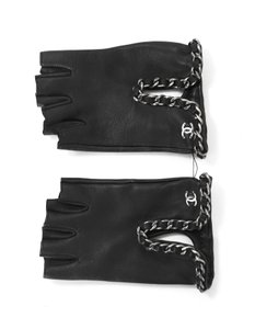 chanel Chanel Black Leather Chain Finger-less Gloves Sz 7