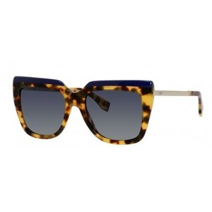 Fendi NEW Fendi 0087 Galassia Havana Royal Blue Flat Top Oversize Sunglasses