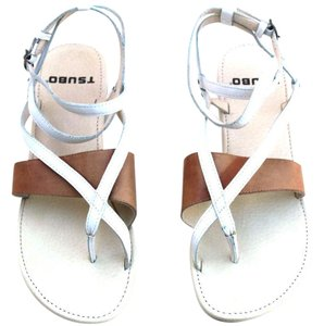 Tsubo Leather Womens Leather White/Brown Sandals