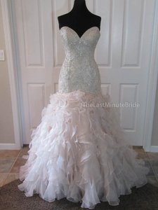 Allure Bridals Champagne Organza C364 Modern Wedding Dress Size 12 (L)