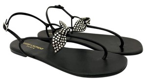 Saint Laurent Studded Bow Black Sandals