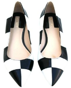 Nine West Leather Womens Color Block Black/White Flats