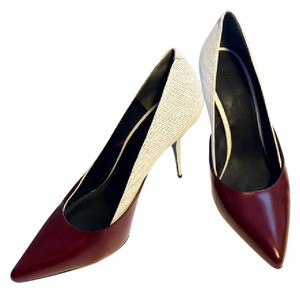 Alexander Wang Lambskin Leather White, burgandy Pumps