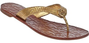 Tory Burch Snakeskin Logo Flip Flop Leather Gold Sandals