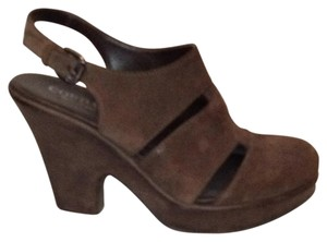 Cordani Leather Cut-out Slingback Buckle brown Platforms