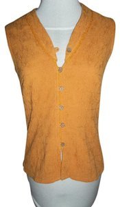The Territory Ahead Cotton Small Sleeveless Button Down Shirt orange