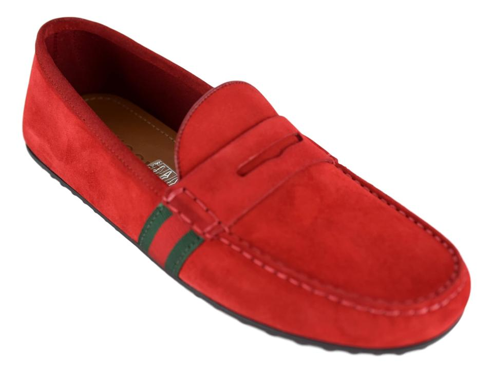 222a779ca Gucci Red 407411 Men's Suede Driver with Web Flats Shoes Image 0 ...