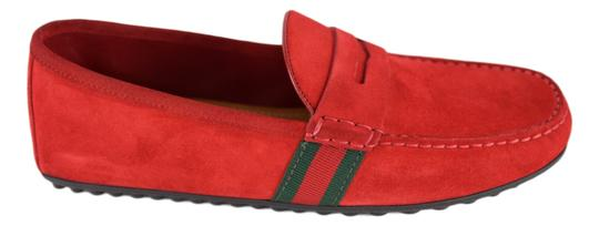 Gucci Red 407411 Men's Suede Driver with Web Flats Shoes