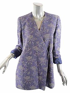 Joan & David Indigo Floral Jacquard Blue Jacket