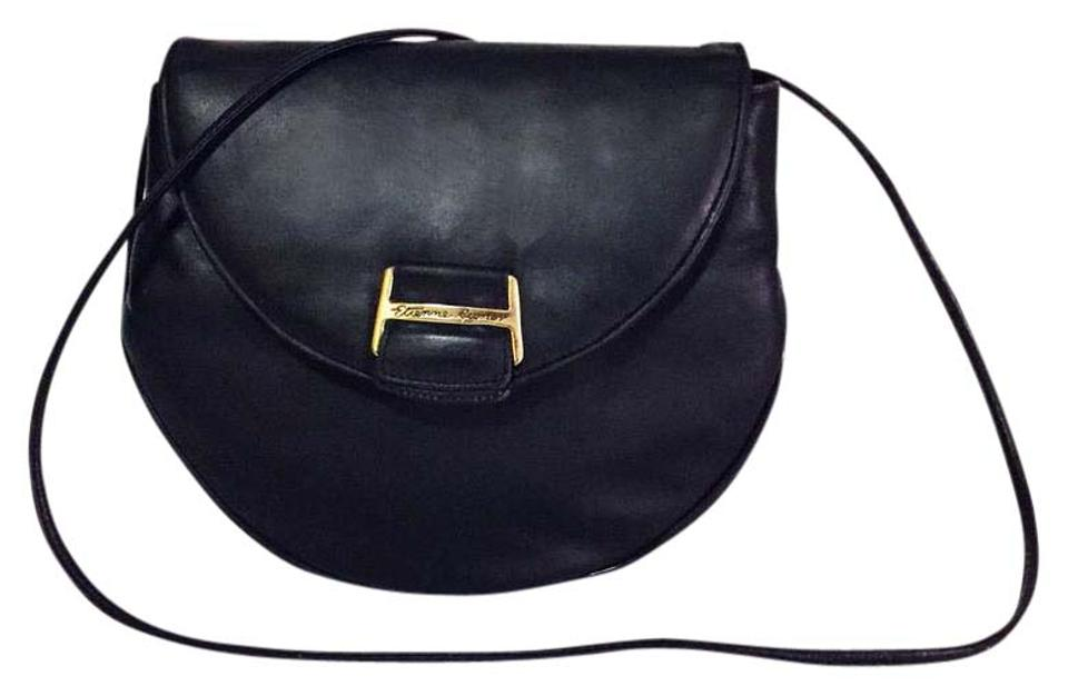 d62100f4e75e Etienne Aigner Vintage Flap Evening By Black Leather Shoulder Bag ...