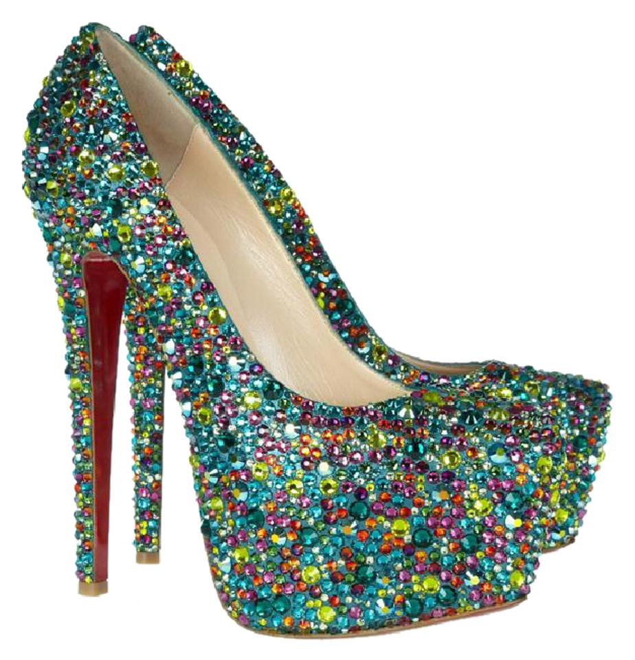 on sale 94766 215d7 Christian Louboutin Multicolor New Daffodile 39.5it Swarovski Crystal  Platform High Heel Red Sol Lady Pumps Size EU 39.5 (Approx. US 9.5) Regular  (M, ...