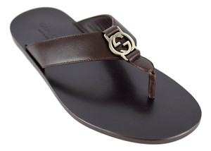 Gucci Gucci 322740 Men's Interlocking G Leather Thong Sandal Uk7 Usa7.5