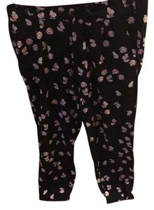 Gap Straight Pants black with light pink floral print