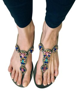 BCBGMAXAZRIA Studded Bedazzled Jeweled Metallic Summer Pewter, Blue, Pink, Gold, Teal, Clear Sandals