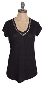 Matty M Sequin V-neck Mixed Beige Gray T Shirt Black
