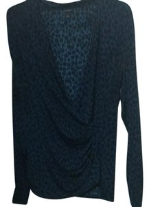 Ann Taylor Top black and blue leopard