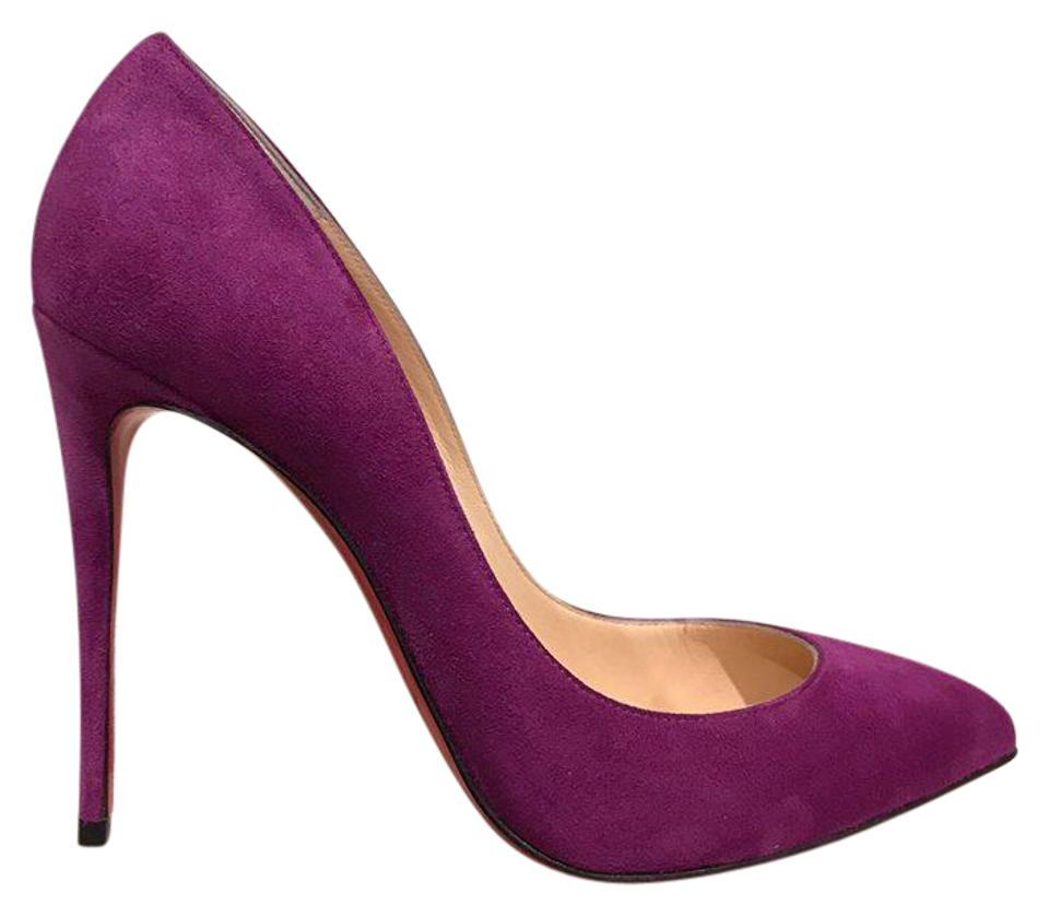 Christian Louboutin Purple Pigalle Follies 38 100 Cassis Suede Heel 38 Follies Pumps a4b175