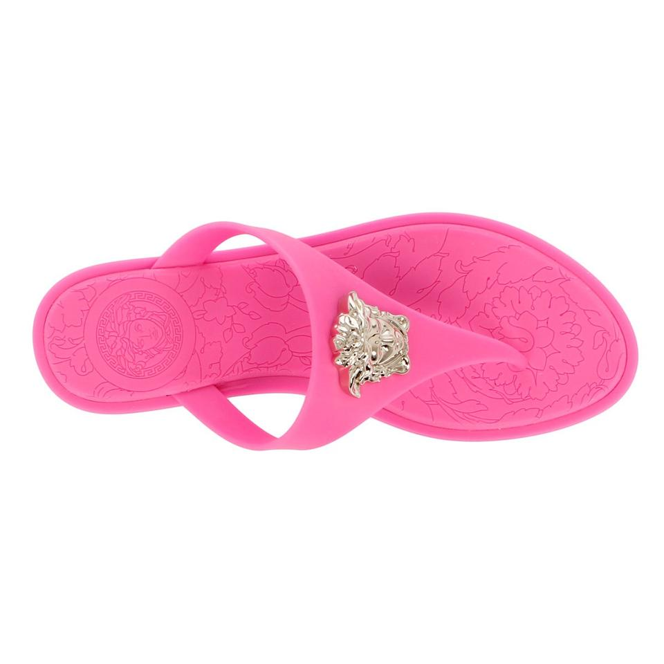 e3e30996cadc Versace Pink Rubber Medusa Thong Sandals Size US 6.5 Regular (M