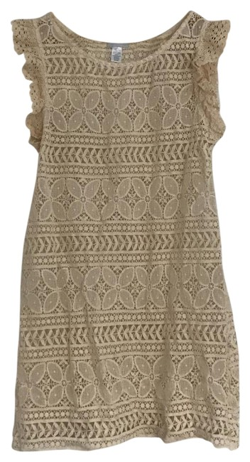 Item - Cream Colored Ruffle Sleeved Lace Cover/Tunic Top/Dress Cover-up/Sarong Size 10 (M)