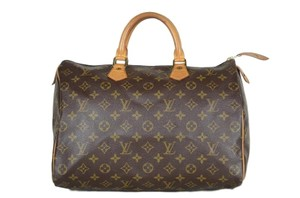 LOUIS VUITTON Monogram Speedy 35 Leather Tote in Brown