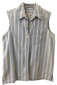 Jones New York Sport Button Down Shirt Blue and White