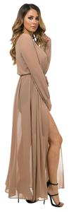 Taupe Maxi Dress by Other Sheer Maxi Swim Coverup