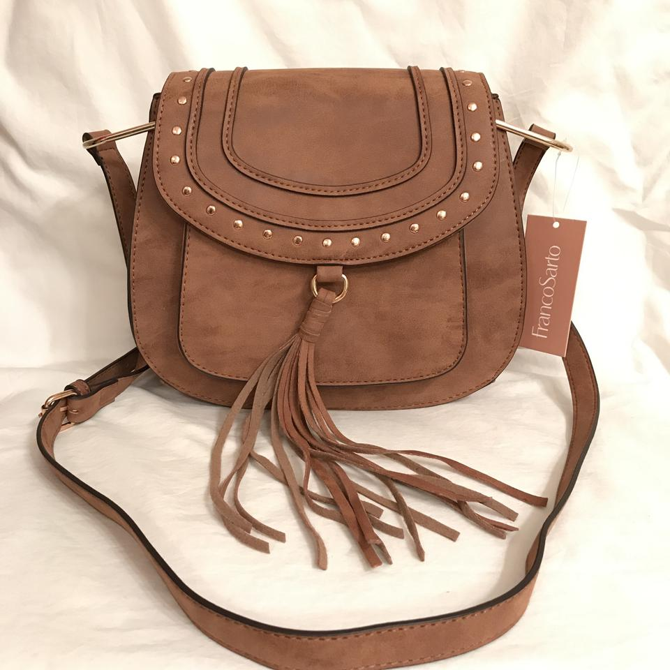 0822f089c25d Franco Sarto Distressed Vegan Suede Leather Brown Beige Faux Leather Cross  Body Bag