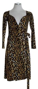 Brown/Black Maxi Dress by Norma Kamali Wrap Knit Animal Print Long Sleeve