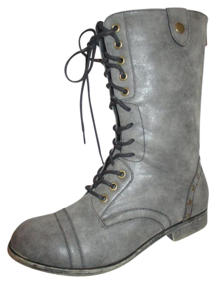 a2ef22be9af Madden Girl Grey Faux Leather Studded Combat Boots/Booties Size US 8  Regular (M, B)