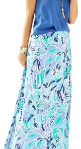 Lilly Pulitzer Maxi Skirt blue turquoise purple Lilac