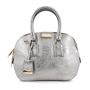 Burberry Leather Satchel in Silver