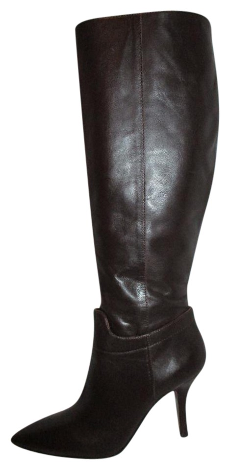 fb0528497ed Nine West Dark Brown Getta Tall Leather Wide Calf Boots Booties Size ...