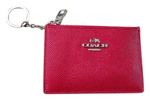 Coach Coach Wallet Card Case Skinny Key Ring Change 52394 Leather Red