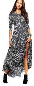grey and black floral Maxi Dress by Free People