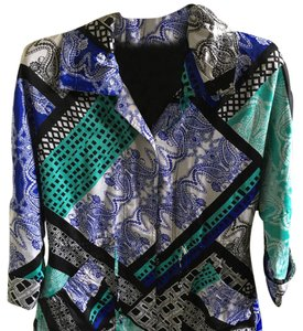 City Girl by Nancy Bolen paisley blue green black Blazer