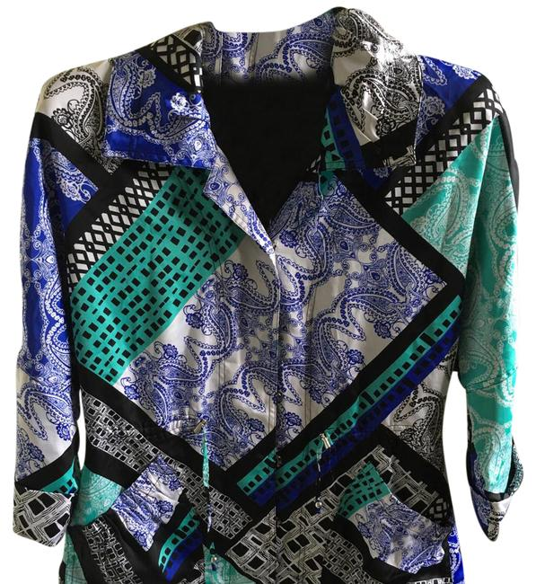 Item - Paisley Blue Green Black Draw String Blazer Size 10 (M)