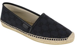 Gucci Leather Espadrille 466902 Gg Black Flats
