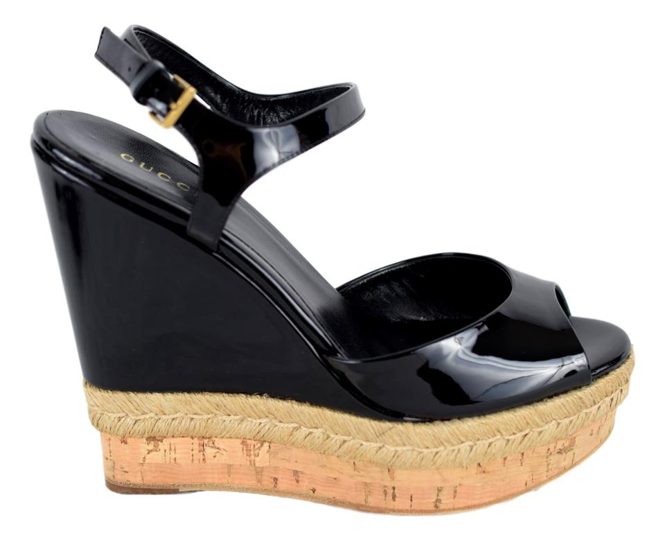 3fe2d0539 Gucci Black 310307 Hollie Patent Leather Wedge Sandals Size US 11 ...