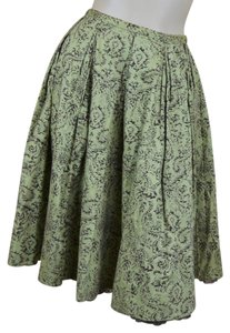 Odille Embellished Pleated Cotton Skirt Olive Green